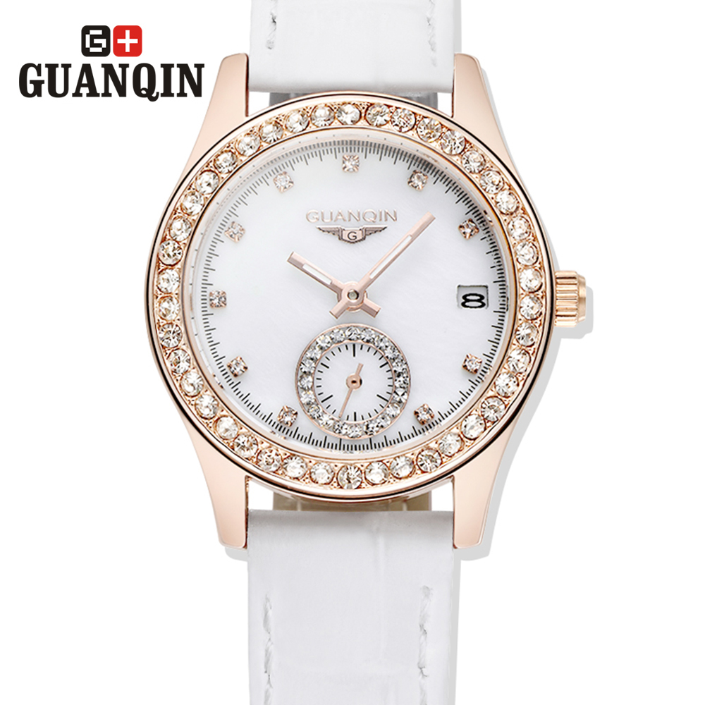 ФОТО Brand GUANQIN fashion women's Quartz watch women watches Quartz-watch Sapphire Waterproof crystal Vintage relogio feminino ab