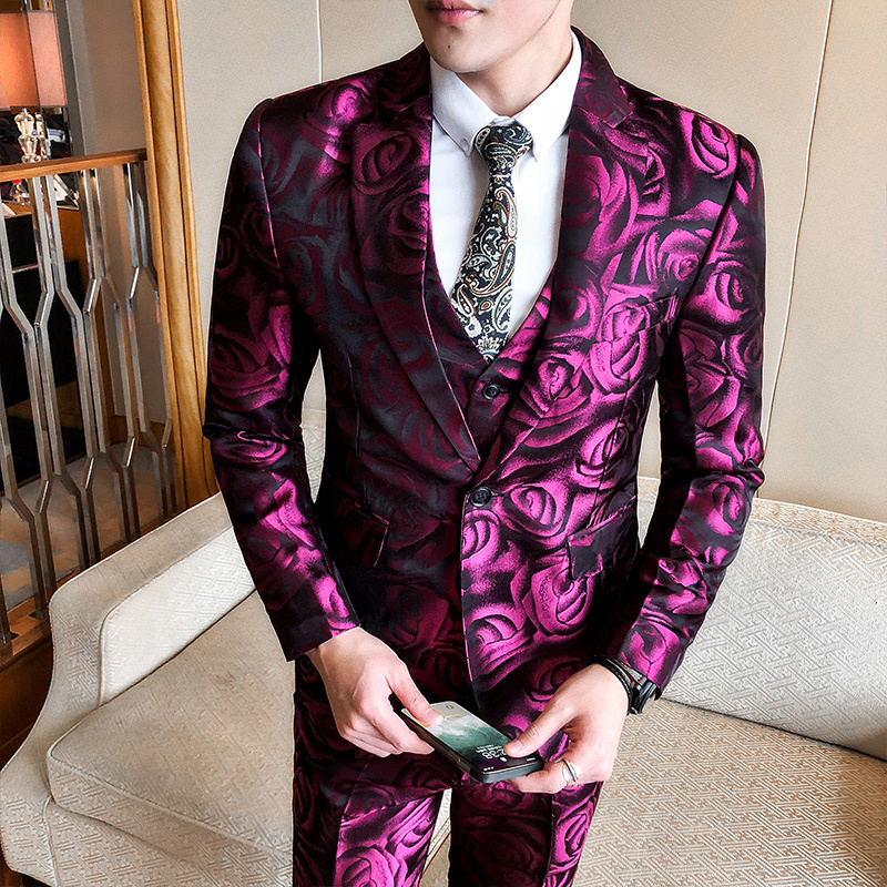 (Jacket +vest+pant ) Rose Pink Smoking Uomo  Grooms Suit Men Business Tuxedos Slim Fit Club Party Prom Suit Abito Uomo Cerimonia-in Suits from Men's Clothing