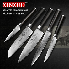 XINZUO 5 pcs kitchen knife set paring utility cleaver Damascus Chef knife Japanese VG10 steel Kitchen Knife sharp free shipping