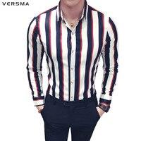 VERSMA 2018 Korean Casual Slim Fit Vintage Long Sleeve Striped Shirt Men Summer Tropical Social Luxury Men Party Shirt Cufflinks
