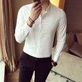 Business Men Shirt Solid Turn down Collar Slim Long Sleeve Dress Shirts White Black Solid Stripe Spring Designer Shirts Man