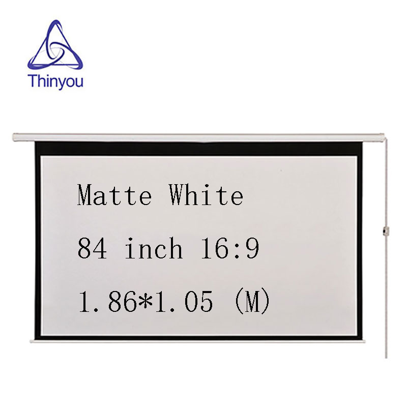 Thinyou Cinema Motorized Projection Screen 84 Inch 16:9 Matt White Projector Electric Screen With Remote For LED DLP Projector thinyou 84 inch 16 9 electric screen with remote control up down matte white fabric fiber glass curtain hd projector screen