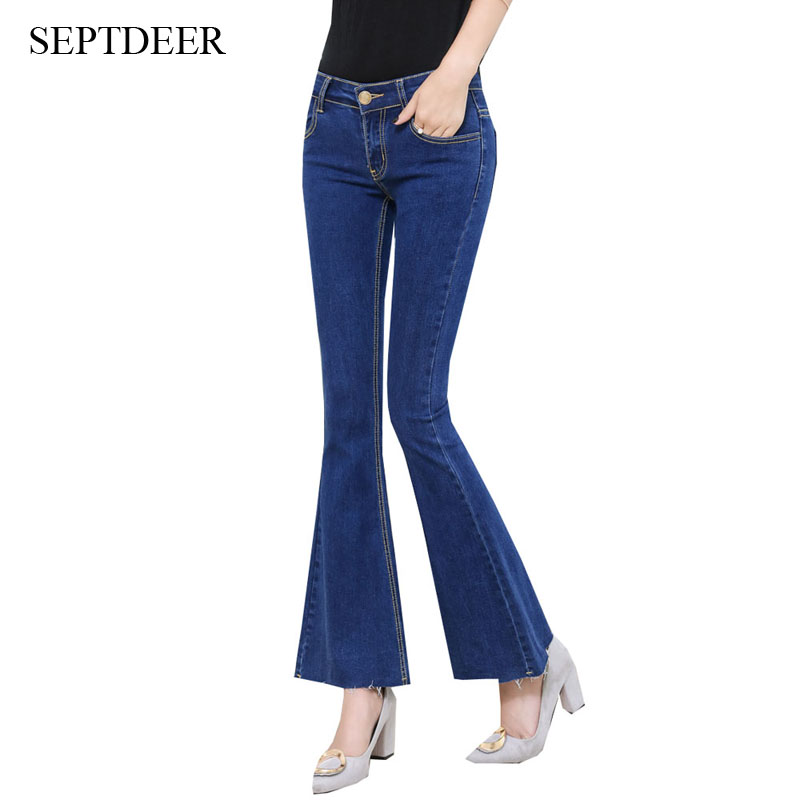 SEPTDEER Fashion Retro High Waist Female Pockets Blue Ankle Length Denim Wide Leg Flare Jeans S-XL AD9596