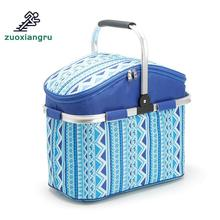 26L Outdoor Camping Hiking Picnic Bags Portable Folding Large Picnic Bag Food Storage Basket Handbags Lunch Box Keep Warm Cold multifunction picnic bag basket outdoor camping school lunch basket thermal large storage beach tote portable insulated handbags