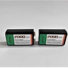 2 шт./лот 2000mAh 9V аккумуляторная батарея 9 вольт Ni-MH батарея для микрофона