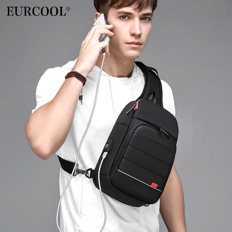 """EURCOOL 2019 nueva bolsa de pecho para hombres para 9,7 """"iPad USB de carga de viaje corto bolso de mensajero repelente al agua bolso de hombro tipo bandolera n1901"""