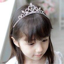 Свадебный цветок Девушки украшенный стразами головная повязка волос лента принцесса прозрачный кристалл аксессуары Корона Тиара украшение для волос