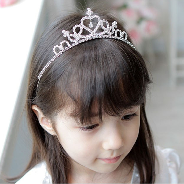 Wedding Flower Girls Rhinestones Embellished Head Band Hair Band Princess Clear Crystal Accessorize Crown Tiara Hair Jewelry