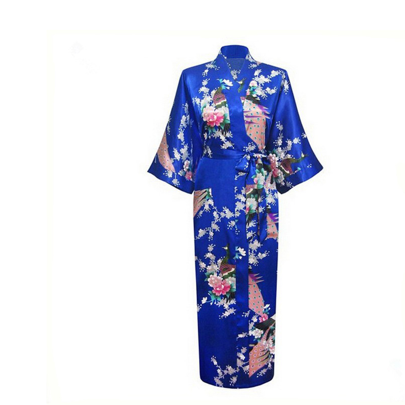Plus Size XXXL Chinese Women Satin Robe Gown Japanese Geisha Yukata Kimono Wedding Robe Sexy Sleepwear Flower Nightgown D124-06
