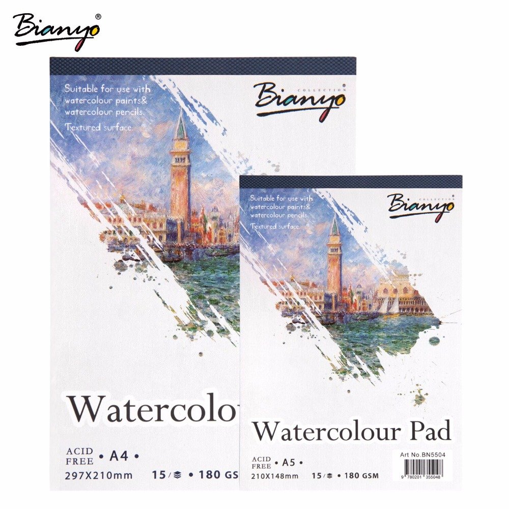 Bianyo A4/A5 Sketchbook Watercolor Painting Paper for Art Drawing,15Sheet Hand Paint Sketch book Creative Office School Supplier it8712f a hxs