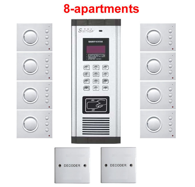 2019 Mode Xinsilu Home Security Nicht-visuelle Gebäude Intercom System 8-wohnungen Hand-free Audio Tür Telefon Passwort & Id Karte Entsperren