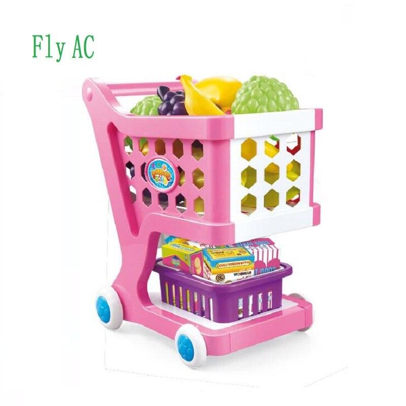 Fly AC supermarché panier jouets semblant jouer jouets pour filles chariot fruits voiture jouets éducatifs cadeau précoce