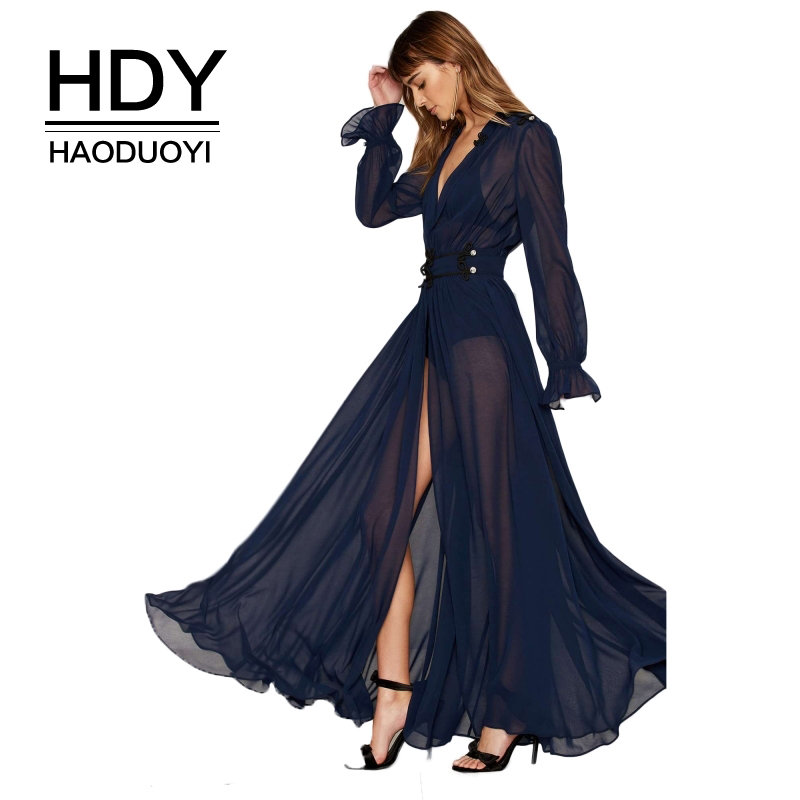 HDY Haoduoyi Solid Blue Women Dress Deep V-Neck Long Sleeve Front Split Sexy Vestidos A-Line Ruffle Sheer Elegant Maxi Dress