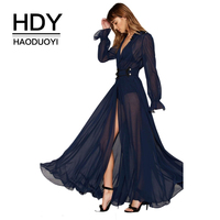 HDY Haoduoyi Solid Blue Women Dress Deep V Neck Long Sleeve Front Split Sexy Vestidos A