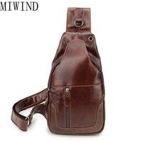 MIWIND Genuine leather Waist Belt Bag Men Chest Pack Sling Single Shoulder Strap Pack Bag TSL971