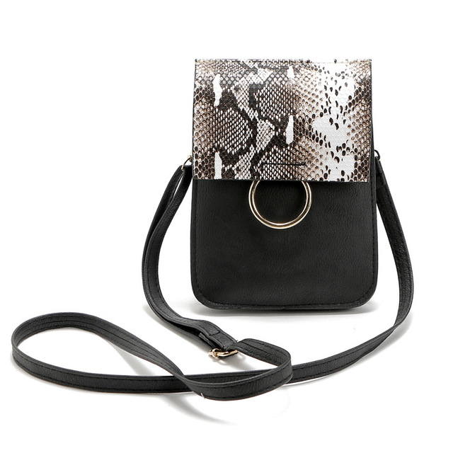 Small Multifunctional Women Wallet Coin and Phone Bags Vintage Serpentine Pattern Mini Pu Leather Crossbody Bag Black 14*3*24 Cm
