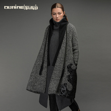 Outline Original Women Wool Coats and Jackets Vintage Autumn Warm Jacket Medium-long Outerwear Winter Woolen Coats L154Y009