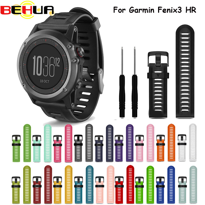 Colorful 26mm Width Outdoor Sport Silicone wrist Strap Watchband Replacement bracelte watch for Garmin Fenix 3 HR watch Band newColorful 26mm Width Outdoor Sport Silicone wrist Strap Watchband Replacement bracelte watch for Garmin Fenix 3 HR watch Band new