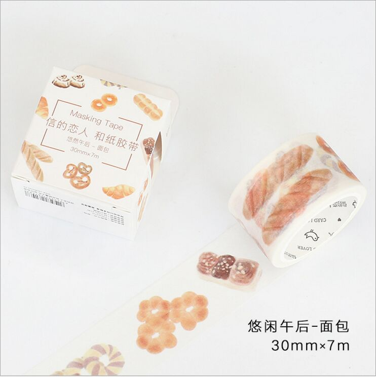 30mm Wide Leisure Afternoon Eat Bread Dessert Happy Life Decoration Washi Tape DIY Planner Diary Scrapbook Sticker Masking Tape