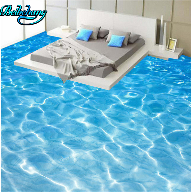beibehang Sea water ripple 3D bathroom living room thickened pvc floor painting custom wallpaper mural decoration beibehang wallpaper custom home decorative backgrounds powerful bear paintings living room office hotel mural 3d floor painting