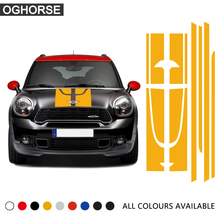 Red Set of Side Racing Stripes Hood Rear Vinyl Decal Sticker for MINI JCW Countryman John Cooper Works 2014 Only