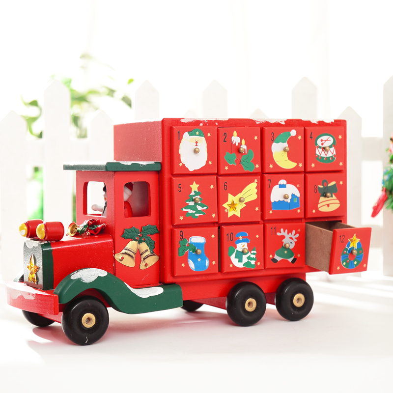 xmas truck with drawer xmas decoration creative wooden christmas truck candy storage for xmas calendar count down truck 3kg in figurines miniatures from - Christmas Truck Decor