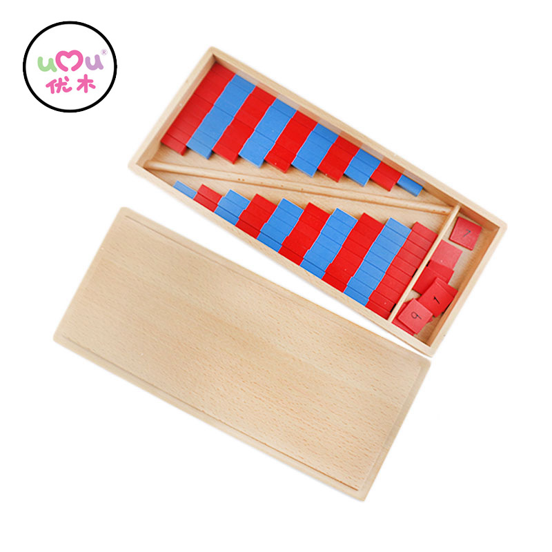 Montessori Educational Wooden Toys Math Toy Red and Blue Stick Montessori Materials Preschool Math Toys For Children UC0466H baby montessori education toys dominos children preschool teaching aids counting and stacking board wooden arithmetic math toy