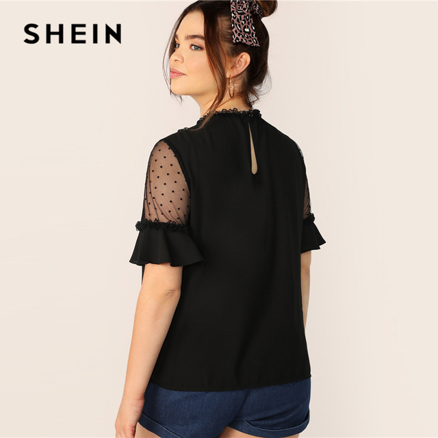 SHEIN Plus Size Black Lace Frill And Mesh Insert Bell Sleeve Top Blouse 2019 Women Summer Elegant Flounce Sleeve Sheer Blouses 2