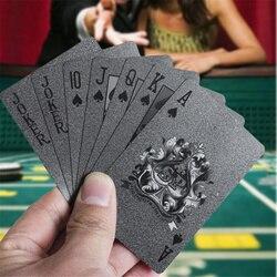 Baralho de cartas de Poker de Plástico Jogando Cartas preto Speelkaarten Cartões De Plástico Jogos de Tabuleiro