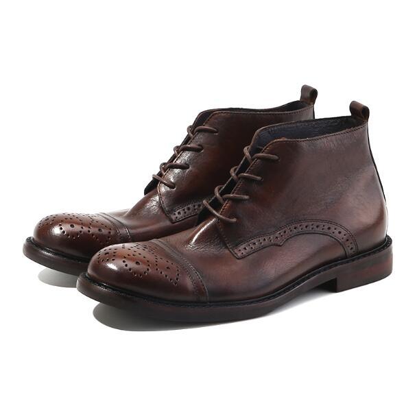 Ручной работы; уличные ботинки карго в винтажном стиле; мужские ботинки с перфорацией типа «броги»