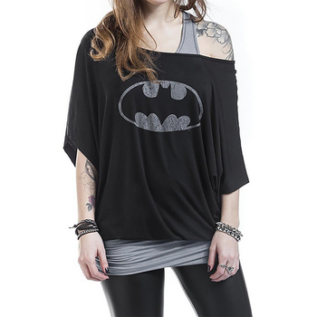 Fake Two Pieces Women Hoodies Batman Printed Short Sleeve T Loose Sleeve Sexy Off Drop Shoulder Daily Casual Wear