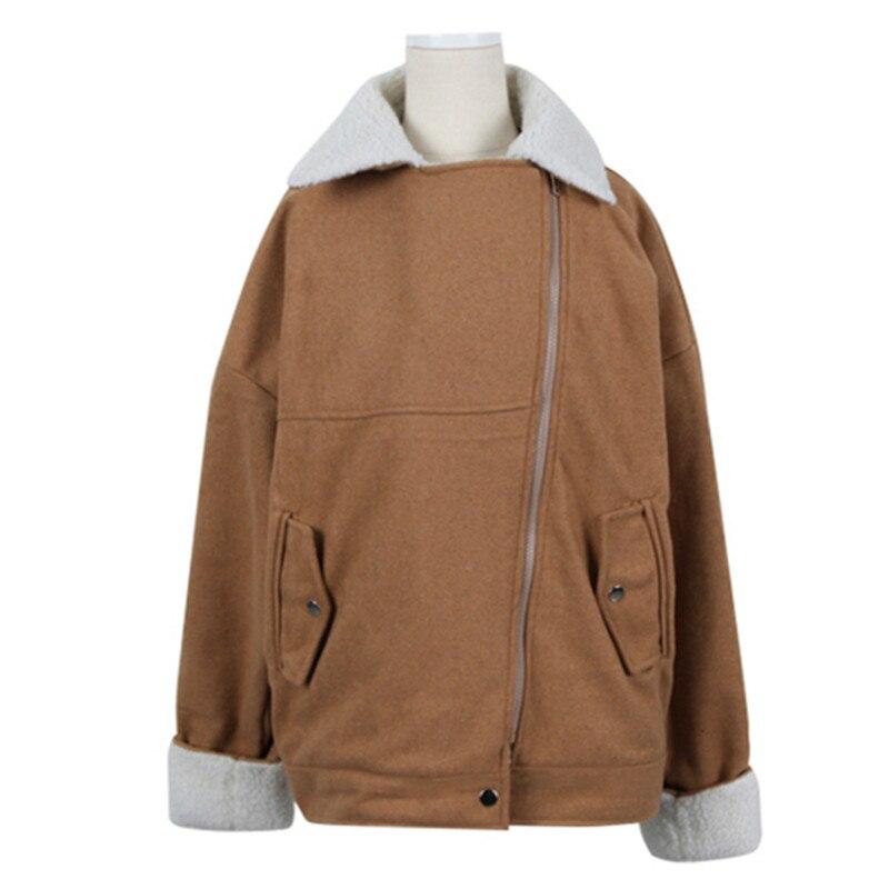 ФОТО England style fashion wollen patchwork winter coat women big turn-down collar straight jacket women casaco feminino size s-m MF1