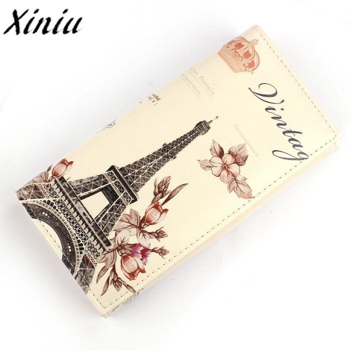 Women Long Purse Flower Tower Pattern PU Leather Purse Clutch Wallet Bag Card Holder 2017 Hot Sale Carteira Feminina #7323