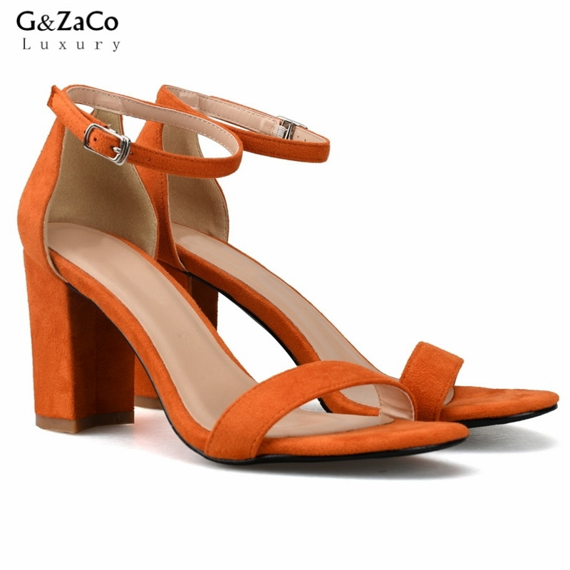 G&Zaco Luxury 2018 New Buckle Thick High Heels Sandal Orange Sexy High Pumps Ankle Strap Fashion Sandals Women's Summer Shoes summer new pointed thick chunky high heels closed toe pumps with buckle ankle wraps sweet sandals women pink black gray 34 40