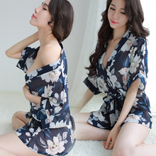 Sexy chiffon lingerie  womens extreme temptation large size pajamas transparent print robe bathrobe set blue