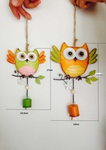 Free shipping,1set,Nordic wrought iron owl pendant decorated bells home decorate children's room storefront bar,christmas gift
