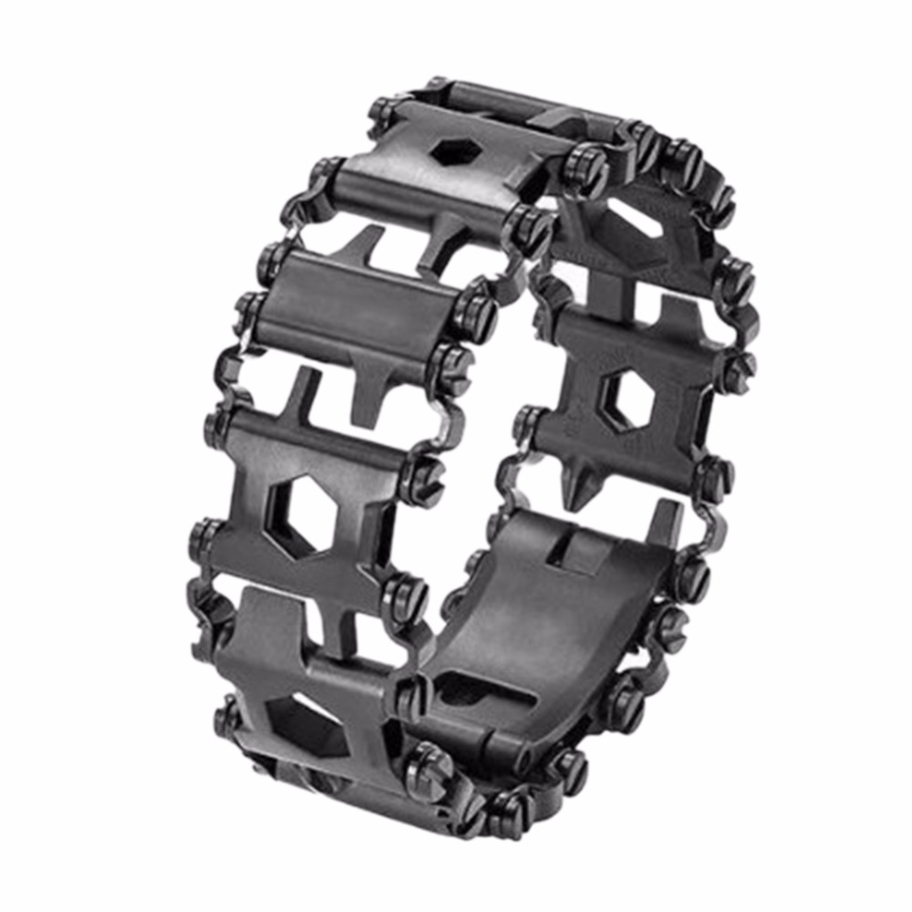 KUNIU Tread Multifunction stainless steel Wear bracelet Strap tool Screwdriver can opener hex wrench Free combination 29 tools 29 in 1 multi functions tools bracelets for mens stainless steel wear tread bracelets wearable screwdriver infinity war bracelet