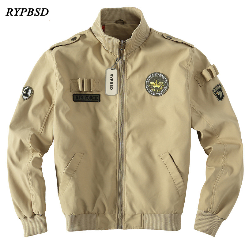 Army Green Military Europe Style Jacket Men Air Force One Style Army Tactical Baseball Jacket Bomber Windproof Coats 3 Colors Sale Price Men's Clothing