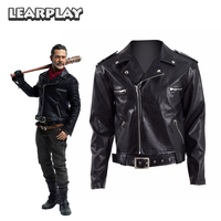 The Walking Dead Negan Jacket Cosplay Costumes Men Adults Black Motocycle PU Leather Cool Short Coat Top Halloween Party