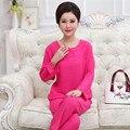 Women Sleepwear Autumn Linen Cotton Home Clothing Older Lady Pajamas Set Plus size