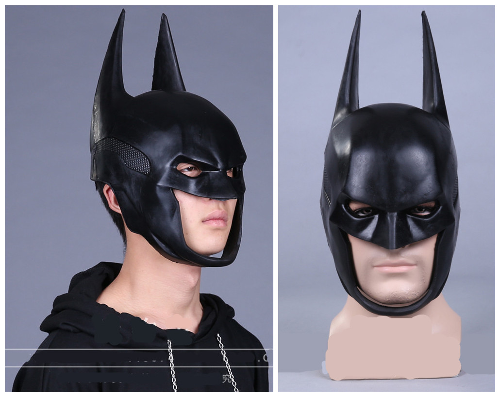 New Batman Mask Dark Knight Adult Full Overhead Bruce Wayne Rubber Helmet Cowl Costume