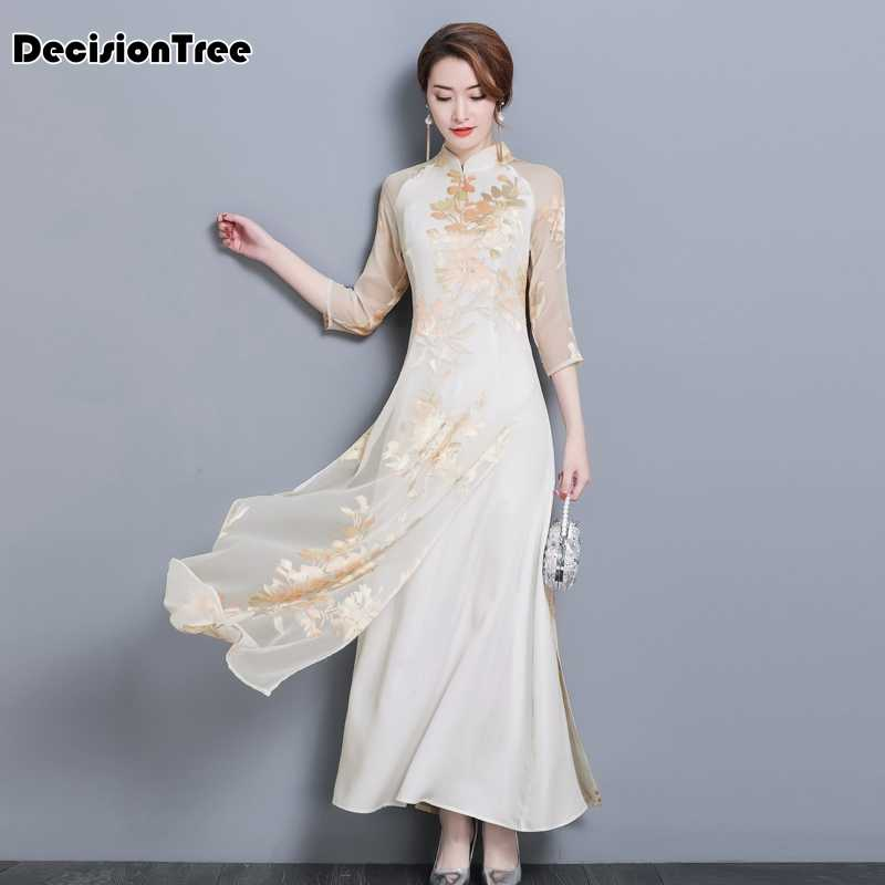 2019 arrival aodai vietnam qipao dress for women traditional clothing ao dai dresses knee length oriental dress for women