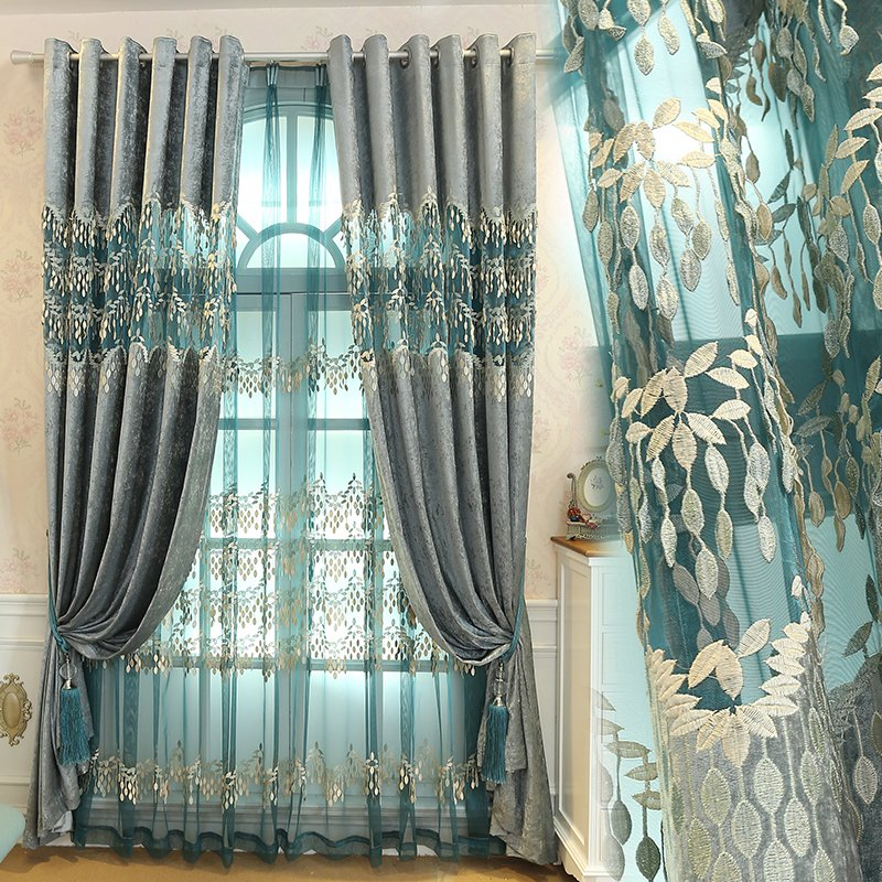 Custom curtain high-end European chenille embroidery Relief Shading bedroom living room blackout curtain drape tulle M180