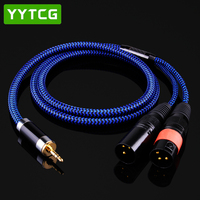 YYTCG G2 TRS Mini Jack 3.5mm to 2 XLR 3Pin Male Microphone Speaker Audio Cable for Mixer PC Microphone Headphone Splitter
