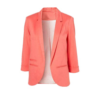 Women Formal Slim Suit Coat 3 4 Sleeve Outwear Office Lady Candy Colors Casual Plus Size