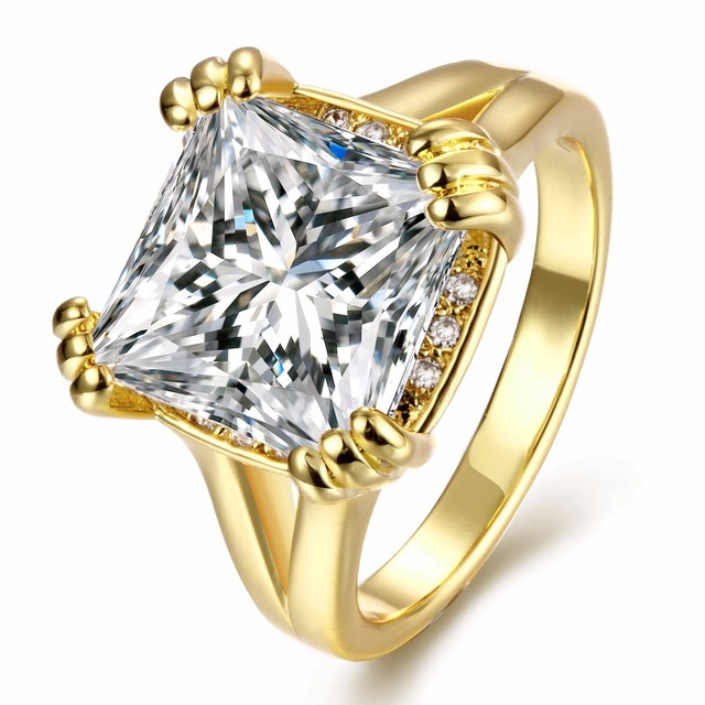 High quality Free shipping Rings for Women, 8ct /Rose Gold plated big CZ diamond rings, Wedding party trendy rings, VLKN107