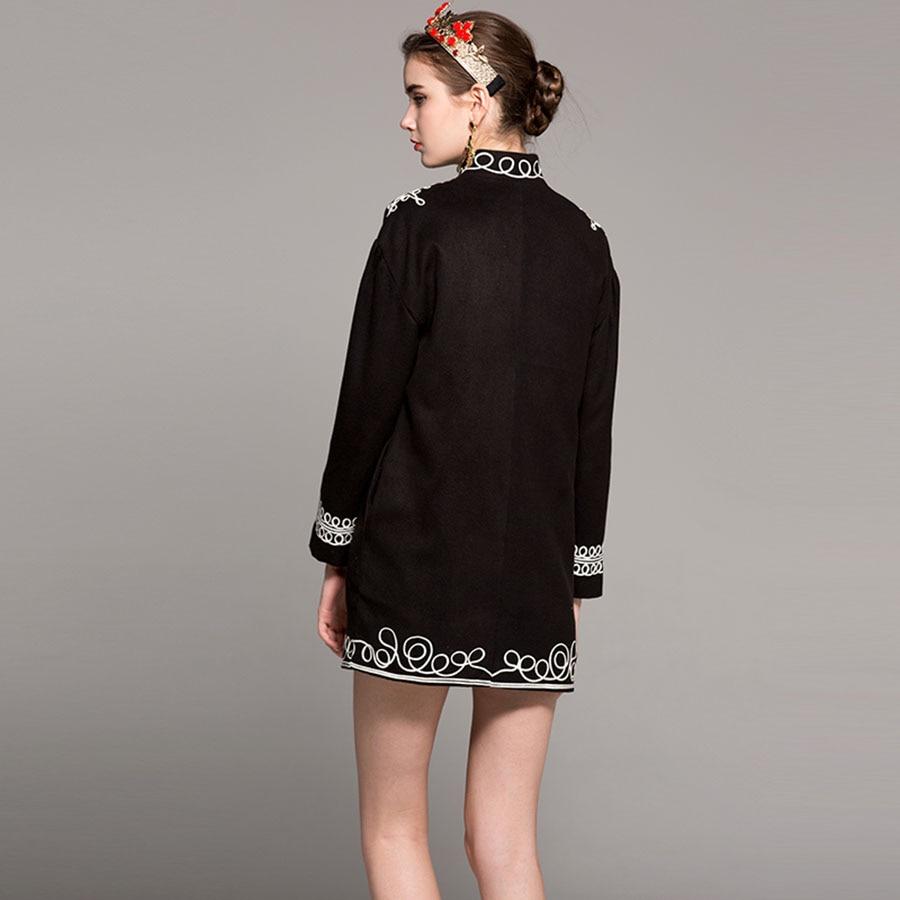 Manteaux Patch Long Et Femmes Nouveau Laine Perles Printemps Col Mandarin Lourd 2018 Épais Au Du Début Broderie Discifloral Designs Travail 74wtqt