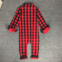 Baby Twin Boys Girls Christmas Red Plaid Romper Newborn