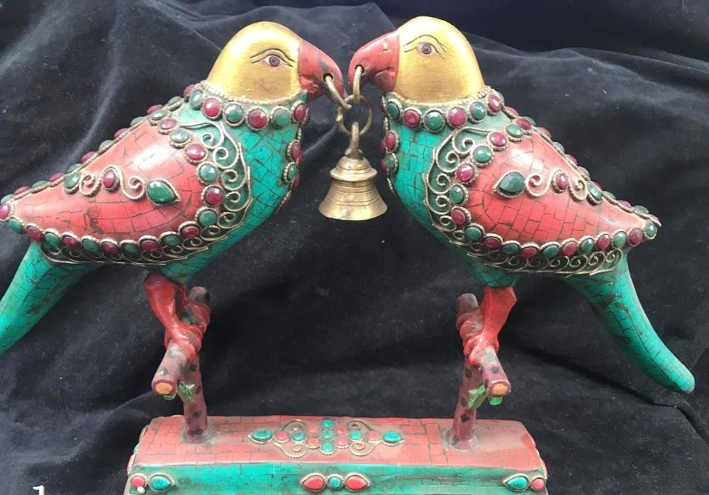 Tibet Nepal handicraft Bronze gold inlcy Turquoise coral two bird Vajra Bell|Statues & Sculptures|Home & Garden - title=