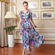VOA Brand Silk Purple Floral Dress Beach Casual Pleated Sexy Print Short Sleeves Maxi Vestidos Robe Longue Vestiti A7767